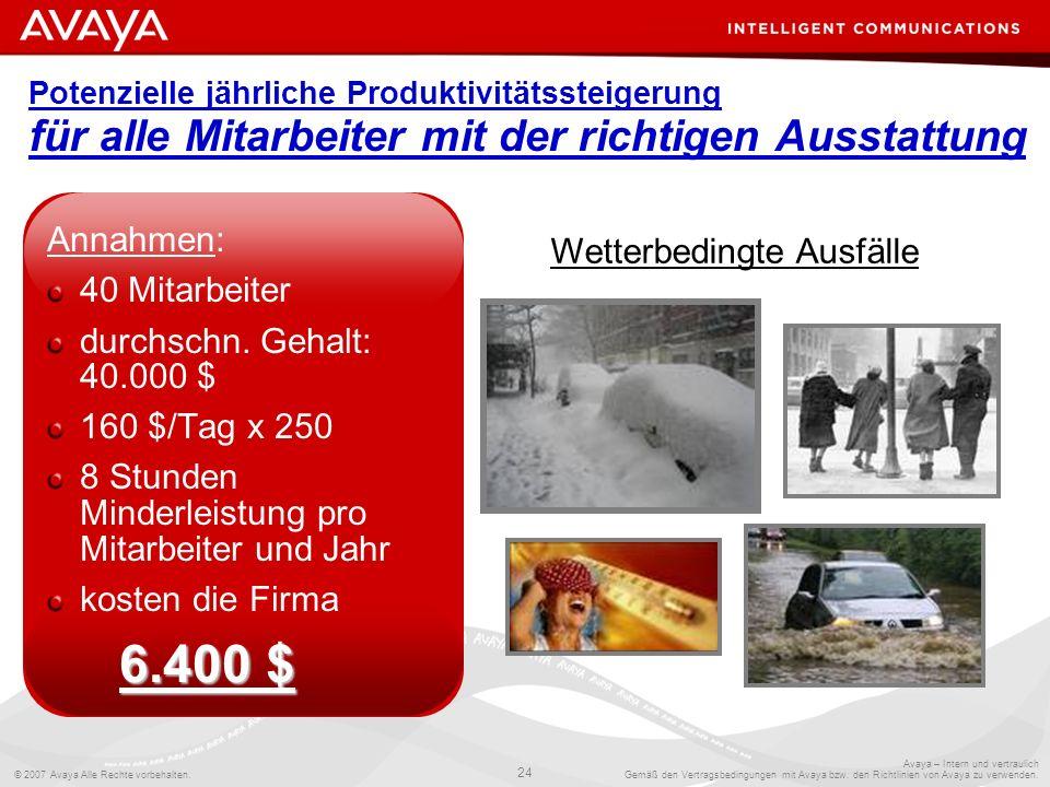 © 2007 Avaya Alle Rechte vorbehalten. 24 Avaya – Intern und vertraulich Gemäß den Vertragsbedingungen mit Avaya bzw. den Richtlinien von Avaya zu verw