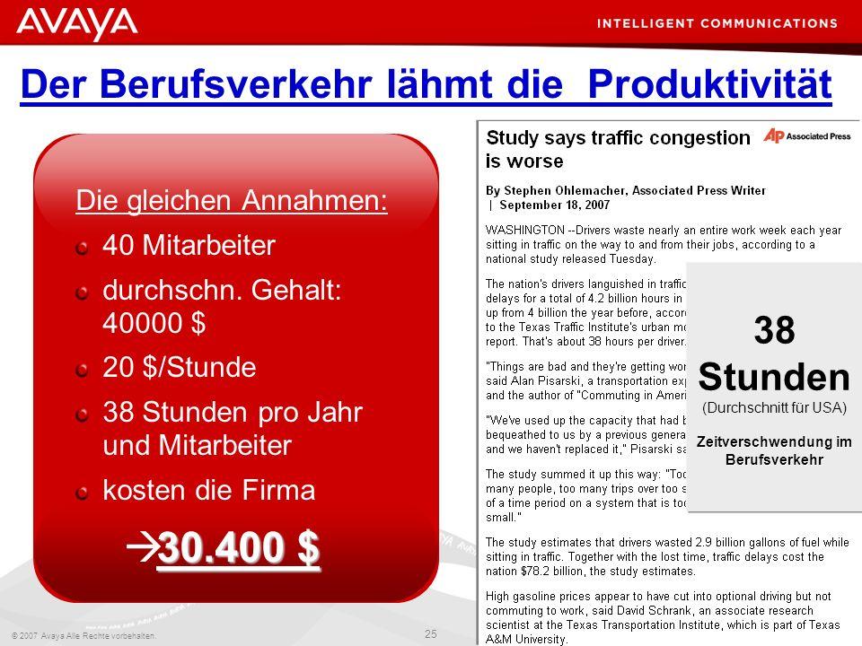 © 2007 Avaya Alle Rechte vorbehalten. 25 Avaya – Intern und vertraulich Gemäß den Vertragsbedingungen mit Avaya bzw. den Richtlinien von Avaya zu verw