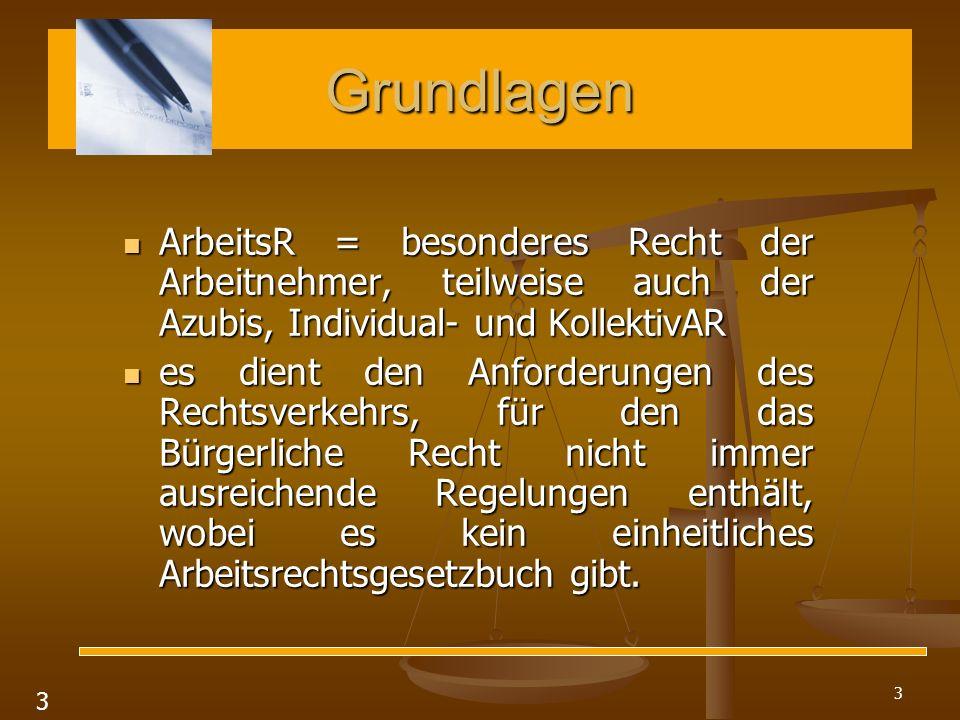 3 Grundlagen ArbeitsR = besonderes Recht der Arbeitnehmer, teilweise auch der Azubis, Individual- und KollektivAR ArbeitsR = besonderes Recht der Arbe