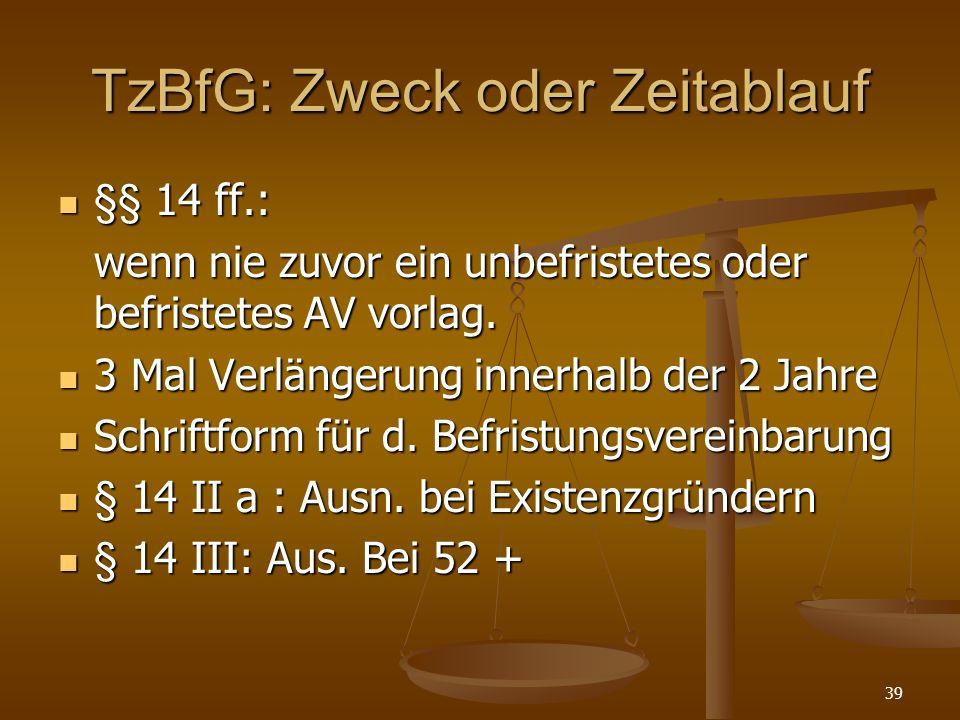 39 TzBfG: Zweck oder Zeitablauf §§ 14 ff.: §§ 14 ff.: wenn nie zuvor ein unbefristetes oder befristetes AV vorlag. 3 Mal Verlängerung innerhalb der 2