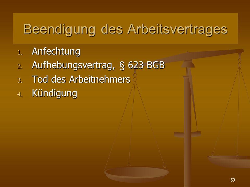 53 Beendigung des Arbeitsvertrages 1. Anfechtung 2. Aufhebungsvertrag, § 623 BGB 3. Tod des Arbeitnehmers 4. Kündigung
