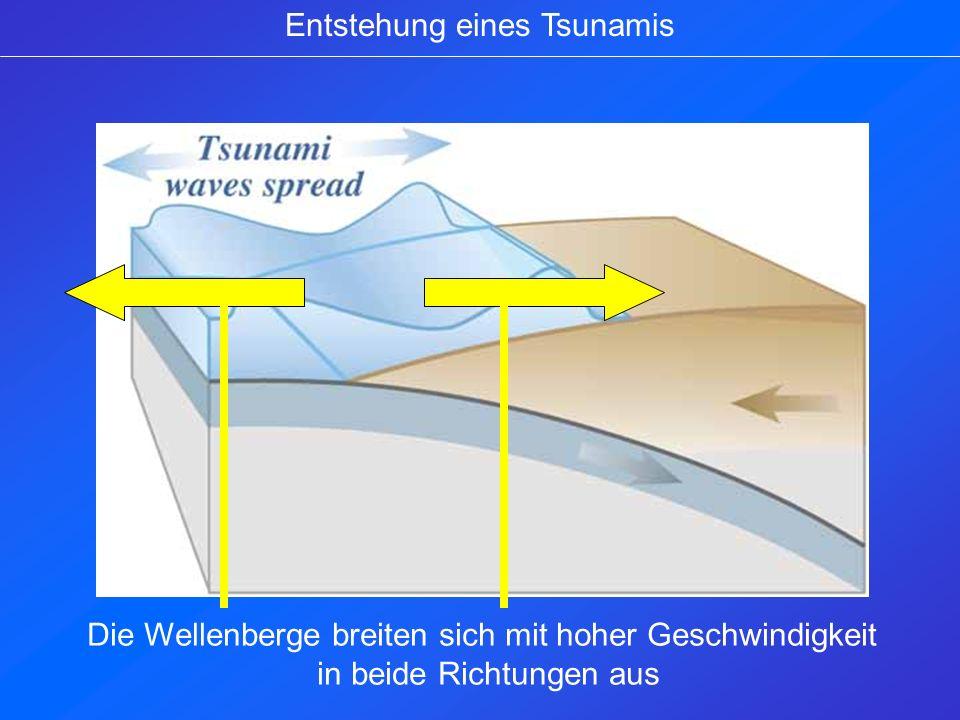 Entstehung eines Tsunamis Die Wellenberge breiten sich mit hoher Geschwindigkeit in beide Richtungen aus