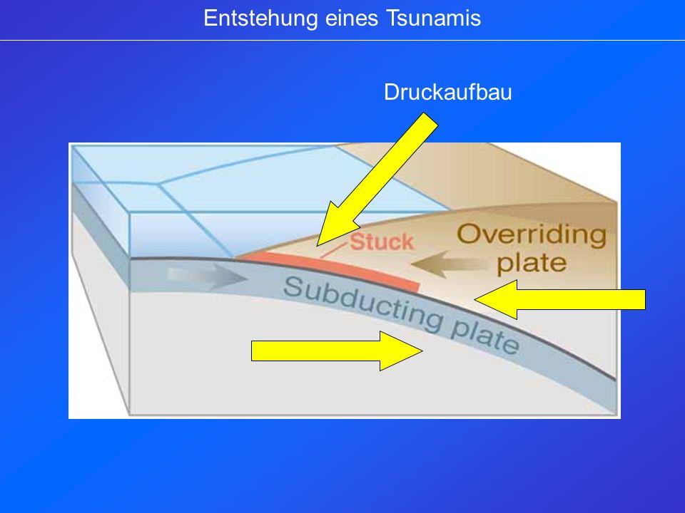 Entstehung eines Tsunamis Druckaufbau