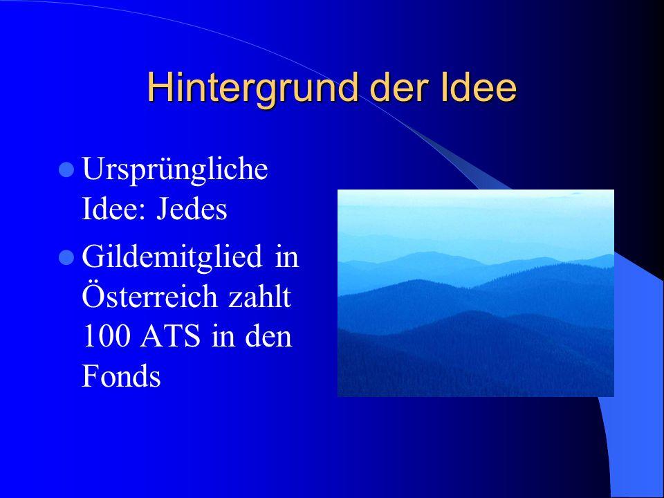 Hintergrund der Idee Seit 2002 wird in Euro gehandelt Daher gilt folgendes: Für jedes neue Mitglied sollten die Gilden 10,– in den Fonds der Aktion 100 einzahlen.