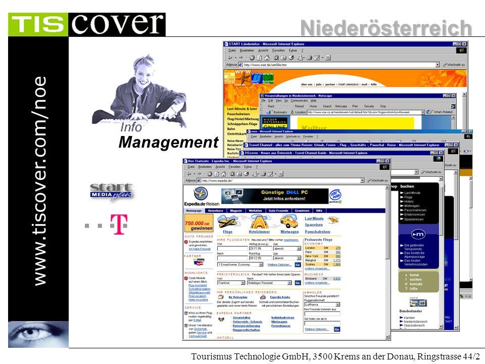 Niederösterreich www.tiscover.com/noe Tourismus Technologie GmbH, 3500 Krems an der Donau, Ringstrasse 44/2 Management Durch die strukturierte Aufbere
