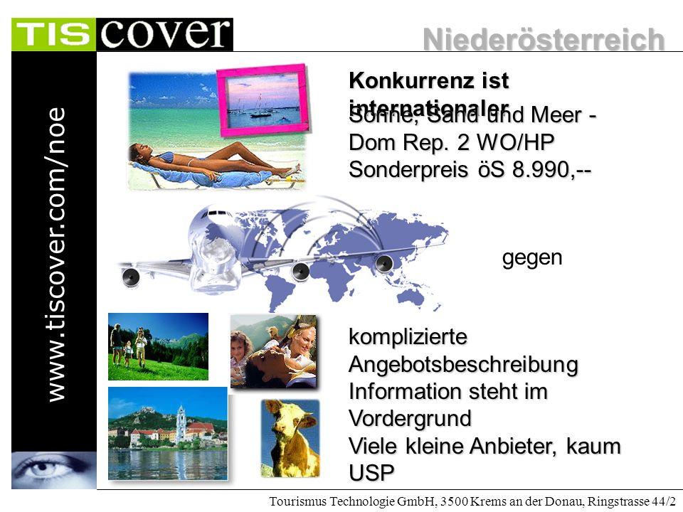 Niederösterreich www.tiscover.com/noe Tourismus Technologie GmbH, 3500 Krems an der Donau, Ringstrasse 44/2 Die Anforderung sind fast gleich geblieben