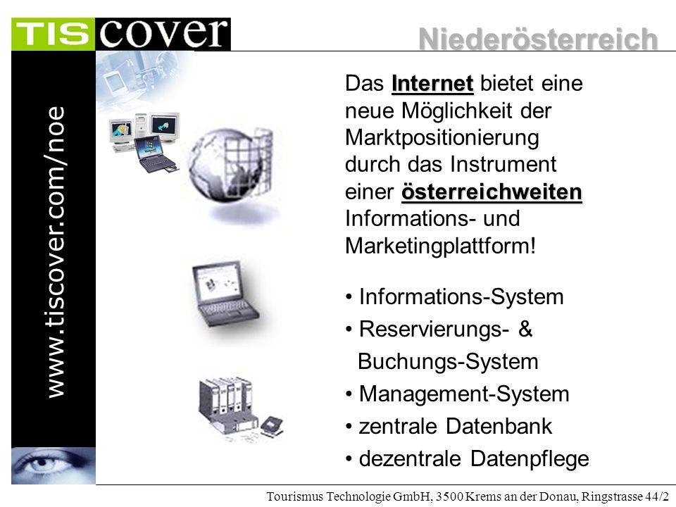 Niederösterreich www.tiscover.com/noe Tourismus Technologie GmbH, 3500 Krems an der Donau, Ringstrasse 44/2 Konkurrenz ist internationaler Sonne, Sand und Meer - Dom Rep.