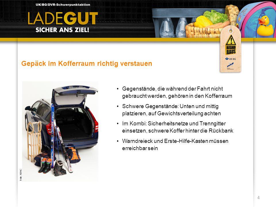 4 Gepäck im Kofferraum richtig verstauen Gegenstände, die während der Fahrt nicht gebraucht werden, gehören in den Kofferraum Schwere Gegenstände: Unt