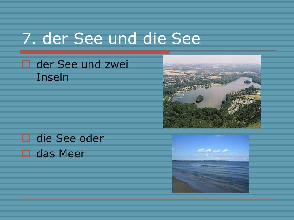 7. der See und die See der See und zwei Inseln die See oder das Meer