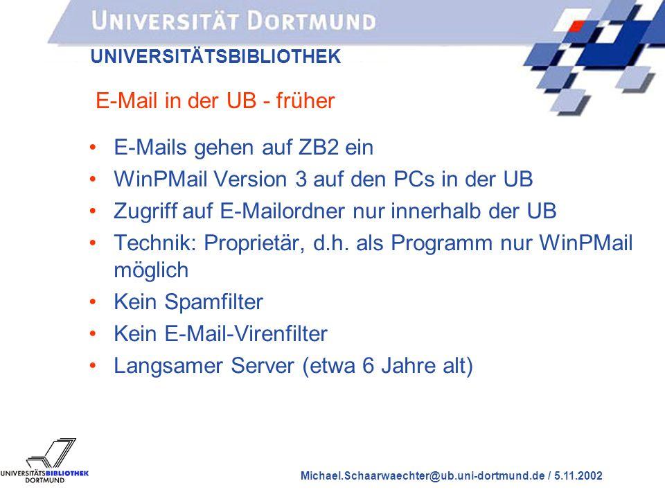 UNIVERSITÄTSBIBLIOTHEK Michael.Schaarwaechter@ub.uni-dortmund.de / 5.11.2002 E-Mail in der UB Dortmund, früher und heute Michael Schaarwächter, 5.11.2002