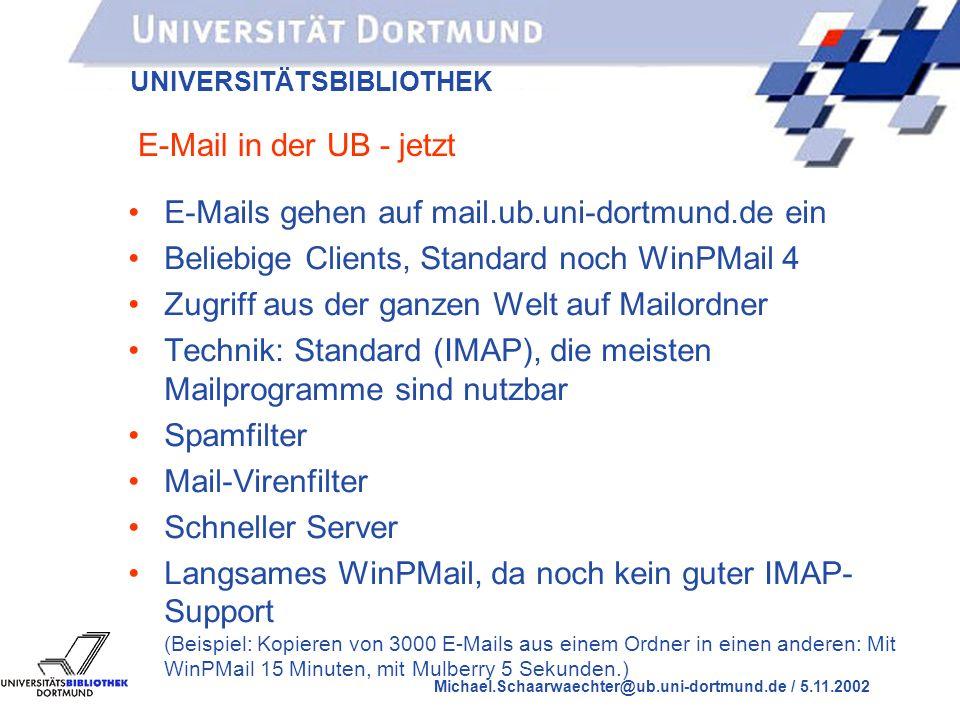 UNIVERSITÄTSBIBLIOTHEK Michael.Schaarwaechter@ub.uni-dortmund.de / 5.11.2002 E-Mail in der UB - früher E-Mails gehen auf ZB2 ein WinPMail Version 3 auf den PCs in der UB Zugriff auf E-Mailordner nur innerhalb der UB Technik: Proprietär, d.h.