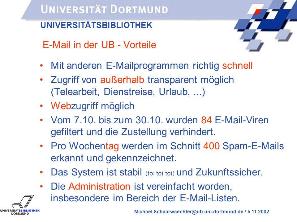 UNIVERSITÄTSBIBLIOTHEK Michael.Schaarwaechter@ub.uni-dortmund.de / 5.11.2002 E-Mail in der UB - Nachteile Der Zugriff mit WinPMail funktioniert nicht gut, da das Programm an dieser Stelle fehlerhaft ist.
