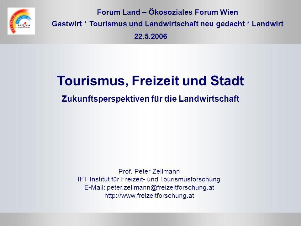 Forum Land – Ökosoziales Forum Wien Prof. Peter Zellmann IFT Institut für Freizeit- und Tourismusforschung E-Mail: peter.zellmann@freizeitforschung.at
