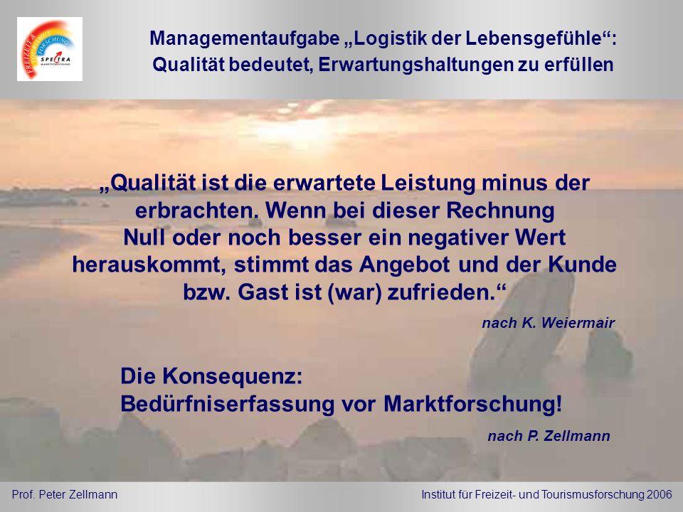 Managementaufgabe Logistik der Lebensgefühle: Qualität ist die erwartete Leistung minus der erbrachten. Wenn bei dieser Rechnung Null oder noch besser
