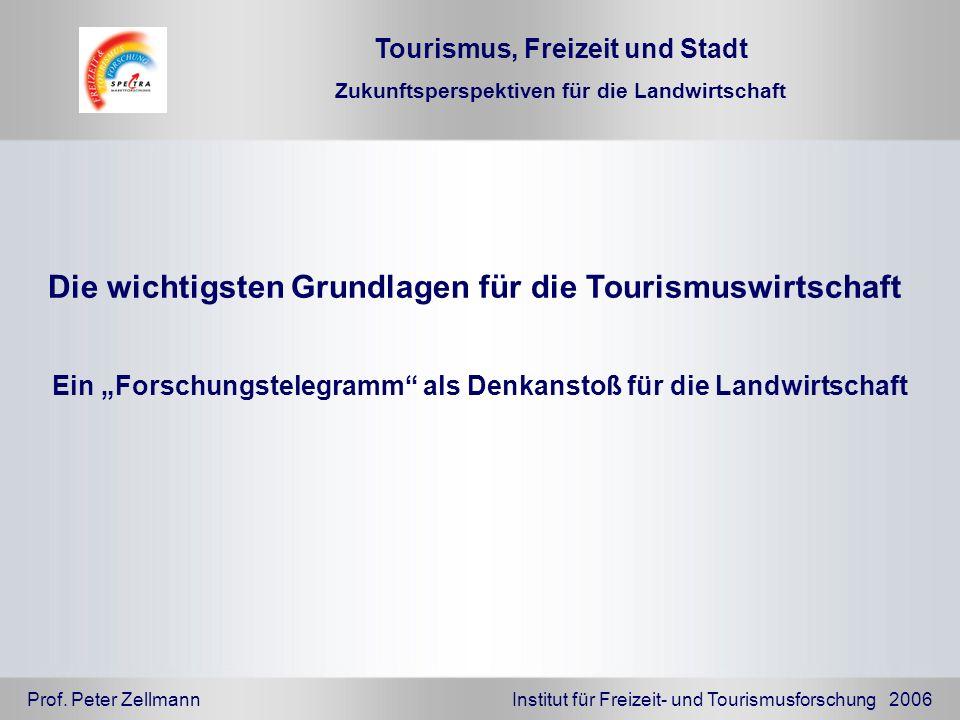 Prof. Peter Zellmann Institut für Freizeit- und Tourismusforschung 2006 Die wichtigsten Grundlagen für die Tourismuswirtschaft Ein Forschungstelegramm
