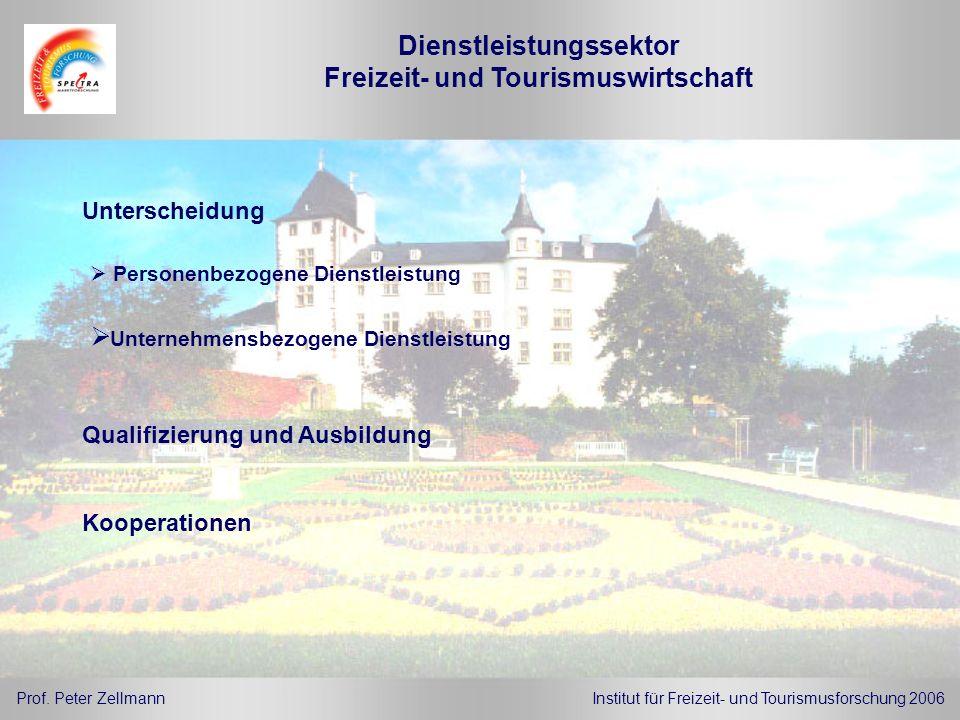 Dienstleistungssektor Freizeit- und Tourismuswirtschaft Unterscheidung Prof. Peter ZellmannInstitut für Freizeit- und Tourismusforschung 2006 Personen