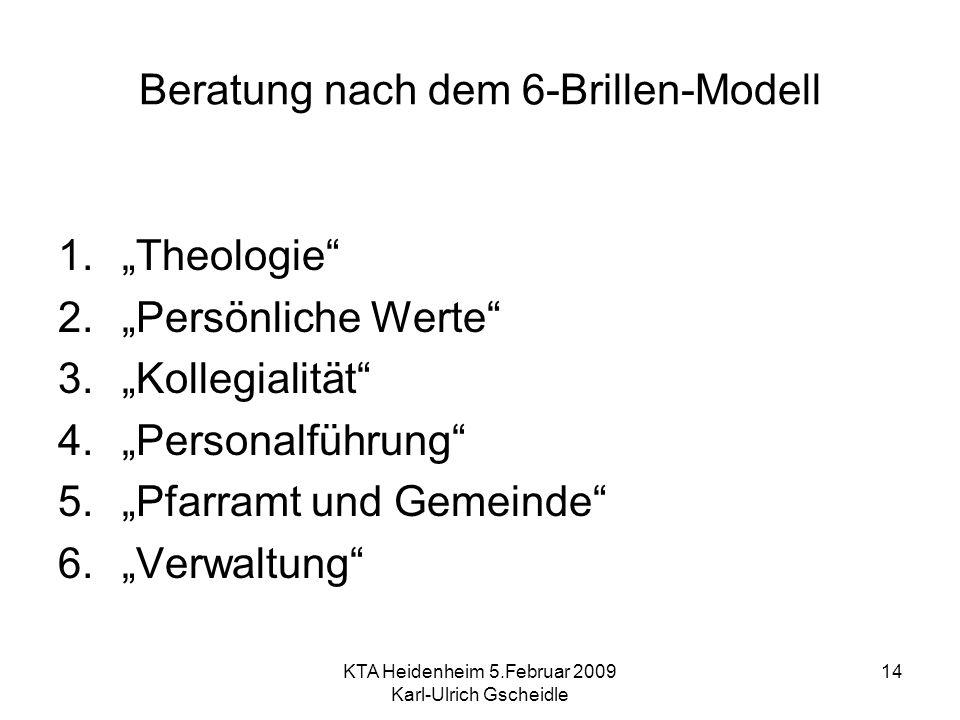 KTA Heidenheim 5.Februar 2009 Karl-Ulrich Gscheidle 14 Beratung nach dem 6-Brillen-Modell 1.Theologie 2.Persönliche Werte 3.Kollegialität 4.Personalführung 5.Pfarramt und Gemeinde 6.Verwaltung