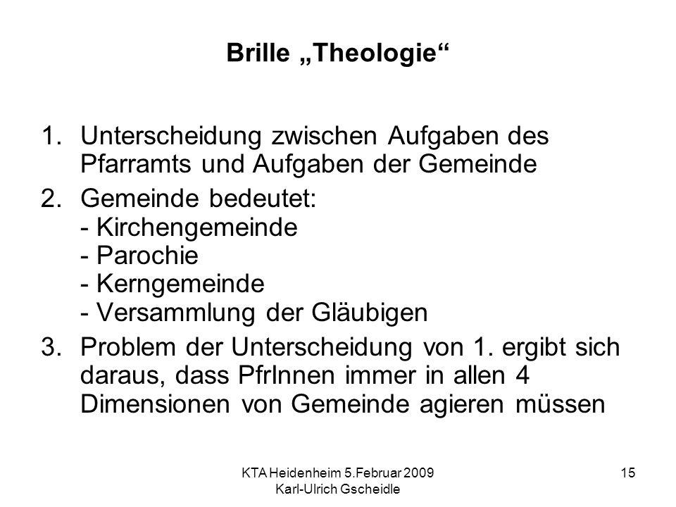 KTA Heidenheim 5.Februar 2009 Karl-Ulrich Gscheidle 15 Brille Theologie 1.Unterscheidung zwischen Aufgaben des Pfarramts und Aufgaben der Gemeinde 2.G