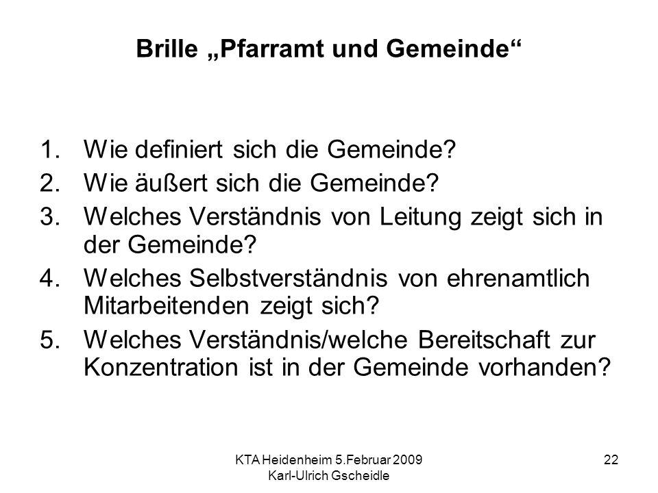 KTA Heidenheim 5.Februar 2009 Karl-Ulrich Gscheidle 22 Brille Pfarramt und Gemeinde 1.Wie definiert sich die Gemeinde? 2.Wie äußert sich die Gemeinde?