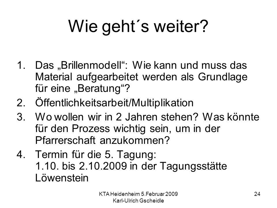 KTA Heidenheim 5.Februar 2009 Karl-Ulrich Gscheidle 24 Wie geht´s weiter? 1.Das Brillenmodell: Wie kann und muss das Material aufgearbeitet werden als