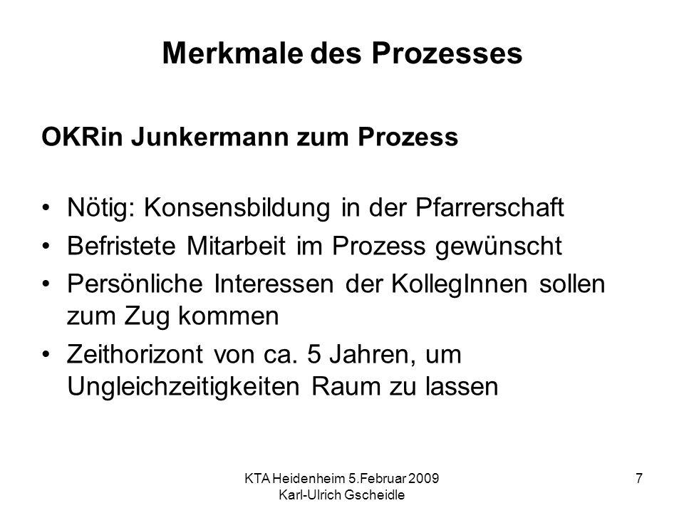 KTA Heidenheim 5.Februar 2009 Karl-Ulrich Gscheidle 7 Merkmale des Prozesses OKRin Junkermann zum Prozess Nötig: Konsensbildung in der Pfarrerschaft B