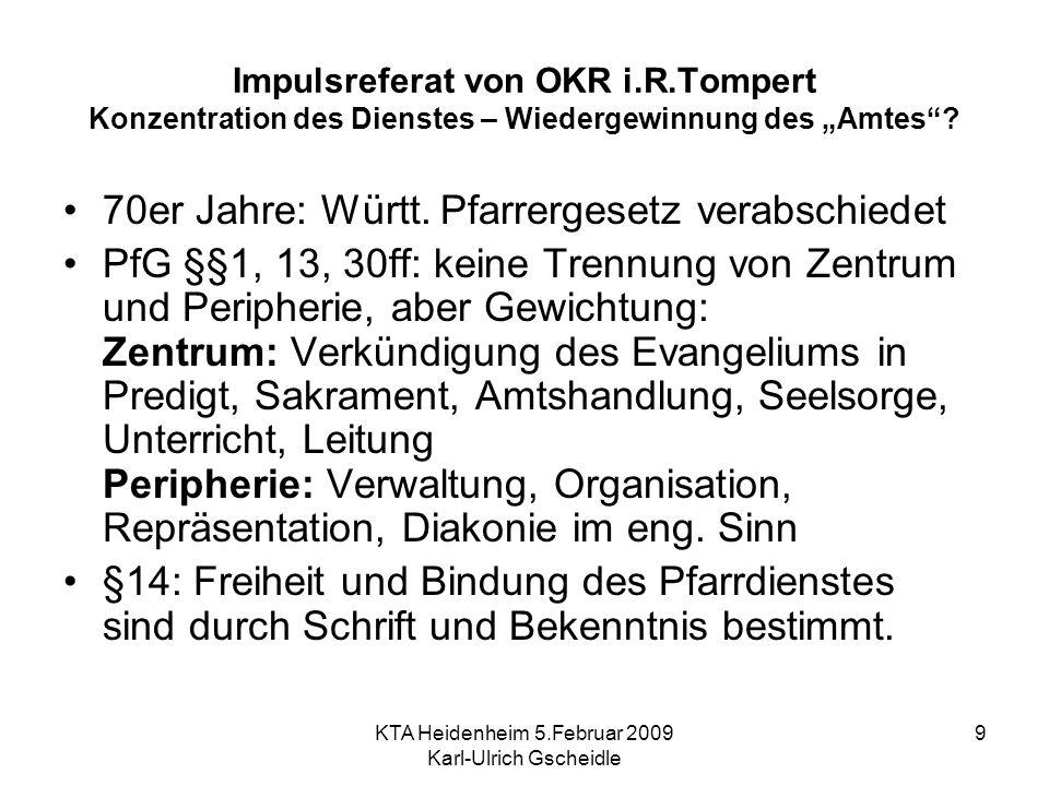 KTA Heidenheim 5.Februar 2009 Karl-Ulrich Gscheidle 9 Impulsreferat von OKR i.R.Tompert Konzentration des Dienstes – Wiedergewinnung des Amtes? 70er J