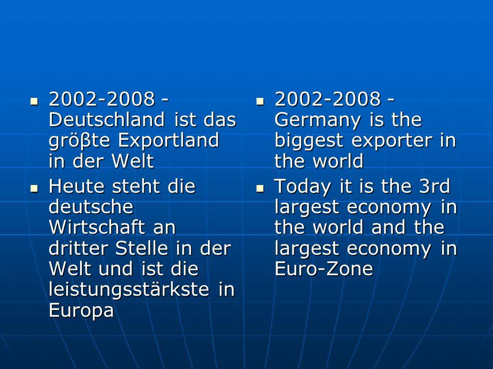 2002-2008 - Deutschland ist das gröβte Exportland in der Welt 2002-2008 - Deutschland ist das gröβte Exportland in der Welt Heute steht die deutsche Wirtschaft an dritter Stelle in der Welt und ist die leistungsstärkste in Europa Heute steht die deutsche Wirtschaft an dritter Stelle in der Welt und ist die leistungsstärkste in Europa 2002-2008 - Germany is the biggest exporter in the world 2002-2008 - Germany is the biggest exporter in the world Today it is the 3rd largest economy in the world and the largest economy in Euro-Zone Today it is the 3rd largest economy in the world and the largest economy in Euro-Zone