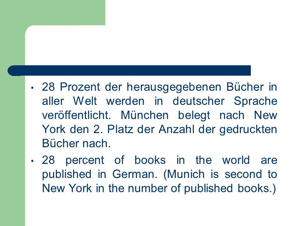 28 Prozent der herausgegebenen Bücher in aller Welt werden in deutscher Sprache veröffentlicht. München belegt nach New York den 2. Platz der Anzahl d