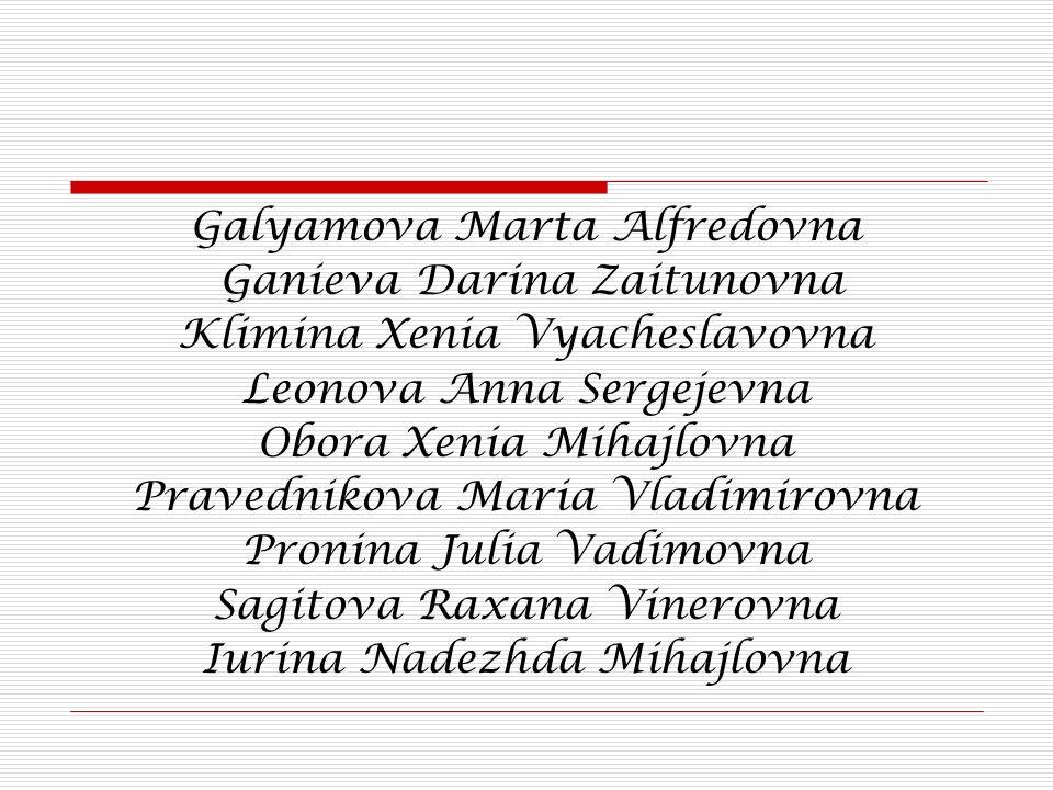 Galyamova Marta Alfredovna Ganieva Darina Zaitunovna Klimina Xenia Vyacheslavovna Leonova Anna Sergejevna Obora Xenia Mihajlovna Pravednikova Maria Vl