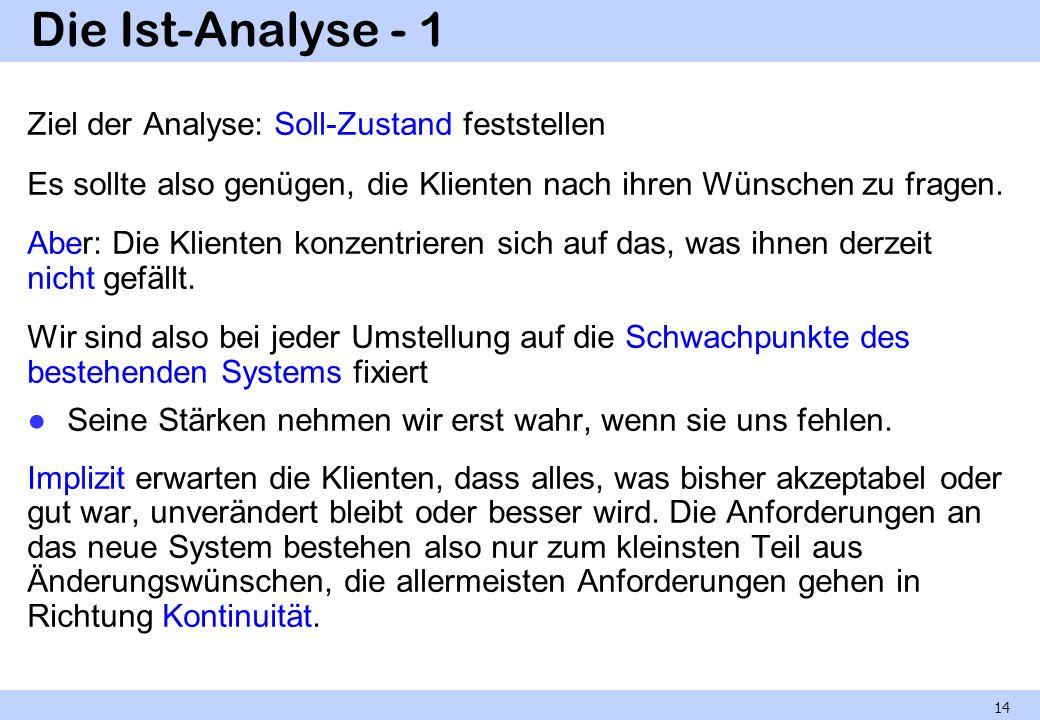 Die Ist-Analyse - 1 Ziel der Analyse: Soll-Zustand feststellen Es sollte also genügen, die Klienten nach ihren Wünschen zu fragen. Aber: Die Klienten