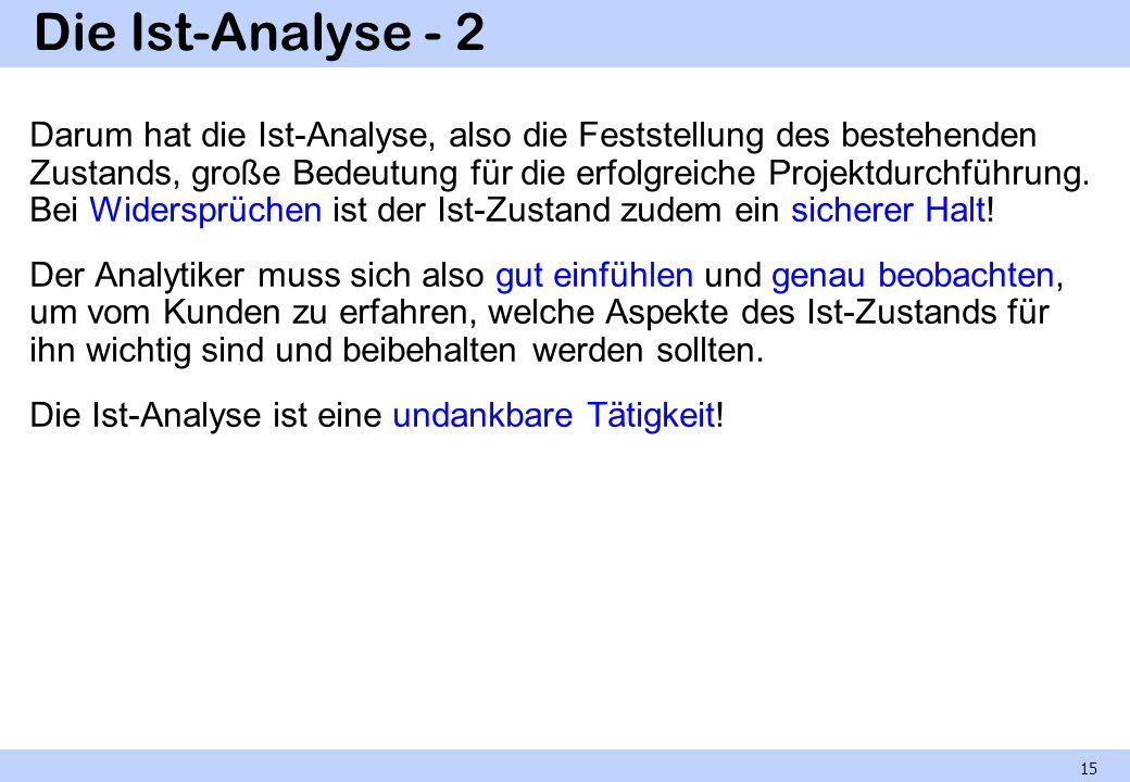 Die Ist-Analyse - 2 Darum hat die Ist-Analyse, also die Feststellung des bestehenden Zustands, große Bedeutung für die erfolgreiche Projektdurchführun