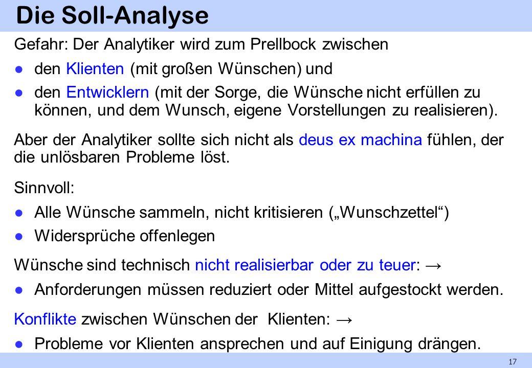 Die Soll-Analyse Gefahr: Der Analytiker wird zum Prellbock zwischen den Klienten (mit großen Wünschen) und den Entwicklern (mit der Sorge, die Wünsche