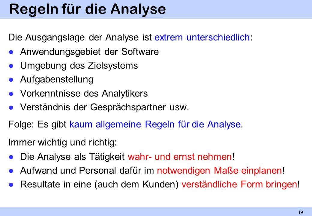 Regeln für die Analyse Die Ausgangslage der Analyse ist extrem unterschiedlich: Anwendungsgebiet der Software Umgebung des Zielsystems Aufgabenstellun