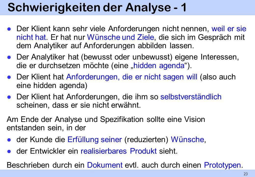 Schwierigkeiten der Analyse - 1 Der Klient kann sehr viele Anforderungen nicht nennen, weil er sie nicht hat. Er hat nur Wünsche und Ziele, die sich i