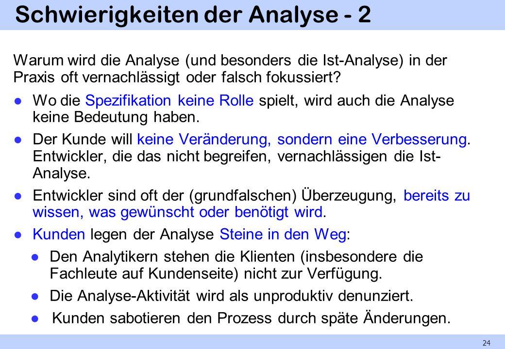 Schwierigkeiten der Analyse - 2 Warum wird die Analyse (und besonders die Ist-Analyse) in der Praxis oft vernachlässigt oder falsch fokussiert? Wo die