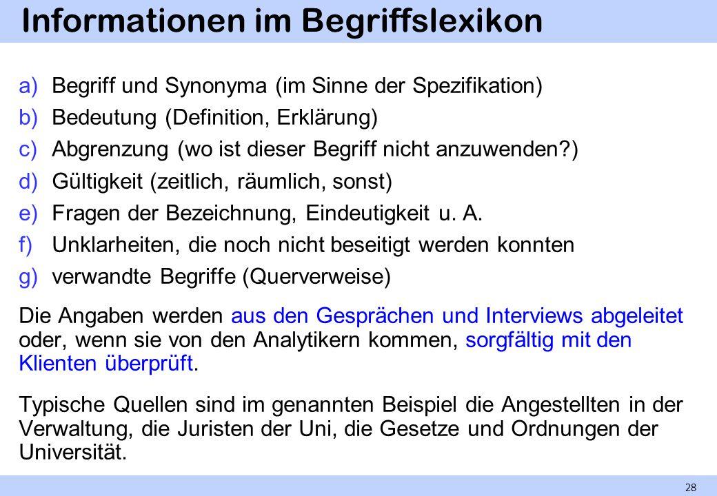 Informationen im Begriffslexikon a)Begriff und Synonyma (im Sinne der Spezifikation) b)Bedeutung (Definition, Erklärung) c)Abgrenzung (wo ist dieser B