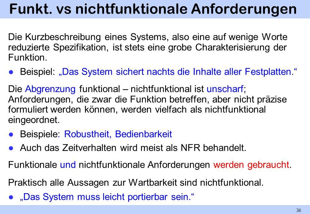 Funkt. vs nichtfunktionale Anforderungen Die Kurzbeschreibung eines Systems, also eine auf wenige Worte reduzierte Spezifikation, ist stets eine grobe