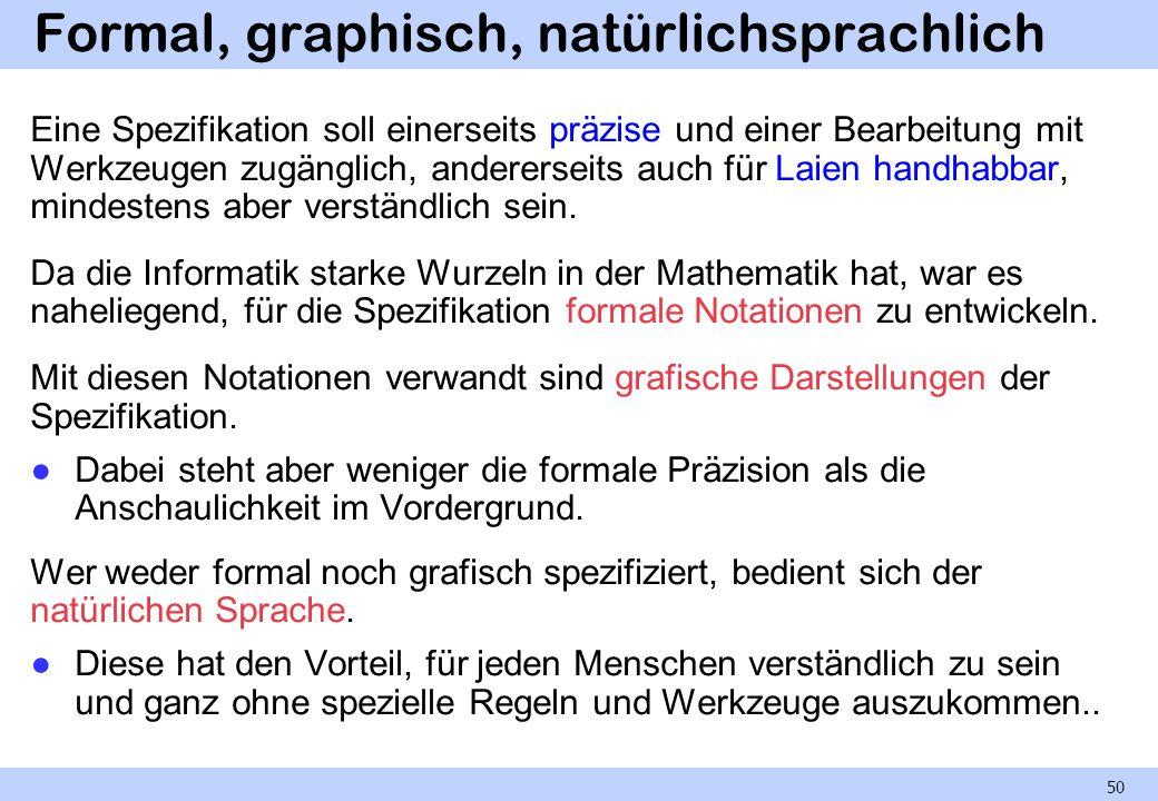 Formal, graphisch, natürlichsprachlich Eine Spezifikation soll einerseits präzise und einer Bearbeitung mit Werkzeugen zugänglich, andererseits auch f
