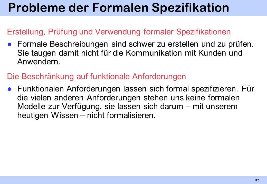 Probleme der Formalen Spezifikation Erstellung, Prüfung und Verwendung formaler Spezifikationen Formale Beschreibungen sind schwer zu erstellen und zu