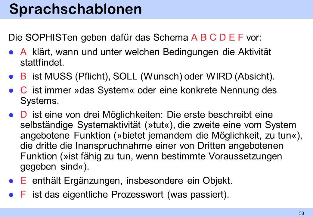 Sprachschablonen Die SOPHISTen geben dafür das Schema A B C D E F vor: Aklärt, wann und unter welchen Bedingungen die Aktivität stattfindet. Bist MUSS
