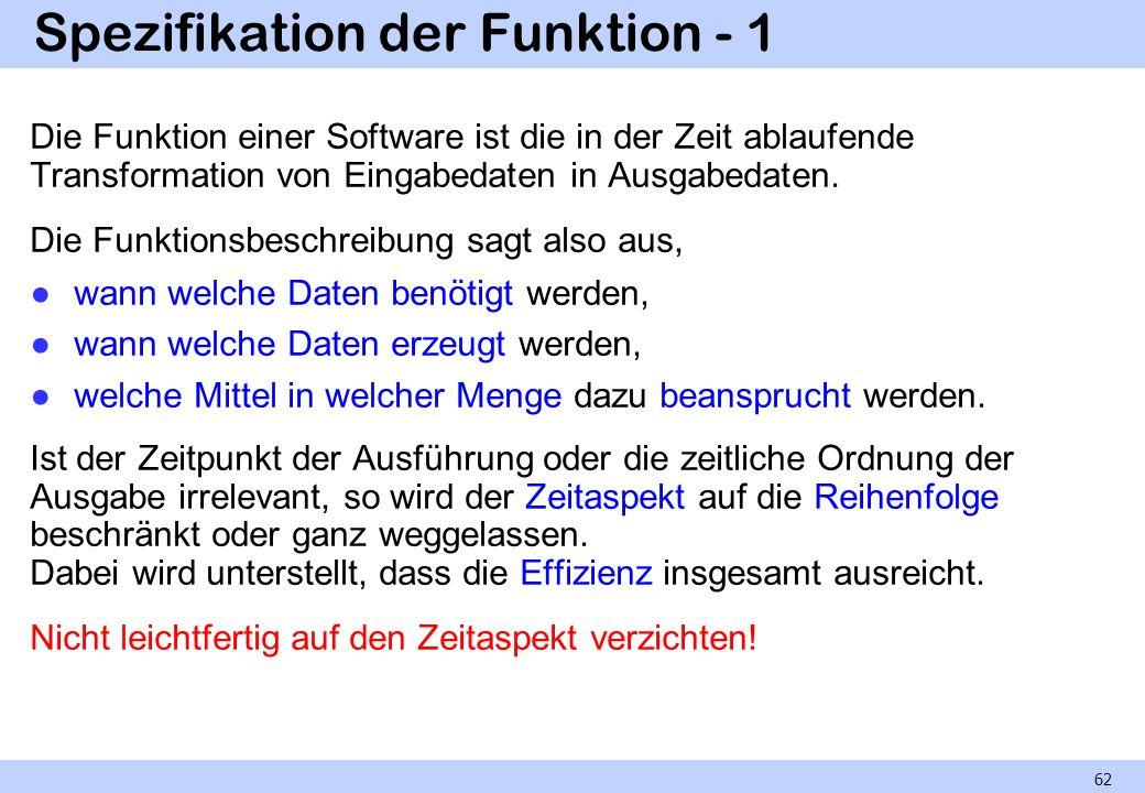 Spezifikation der Funktion - 1 Die Funktion einer Software ist die in der Zeit ablaufende Transformation von Eingabedaten in Ausgabedaten. Die Funktio