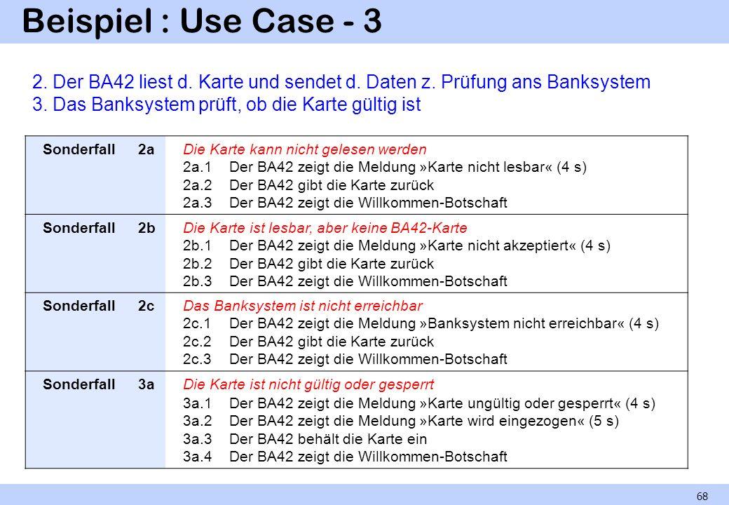 Beispiel : Use Case - 3 68 Sonderfall2aDie Karte kann nicht gelesen werden 2a.1 Der BA42 zeigt die Meldung »Karte nicht lesbar« (4 s) 2a.2 Der BA42 gi