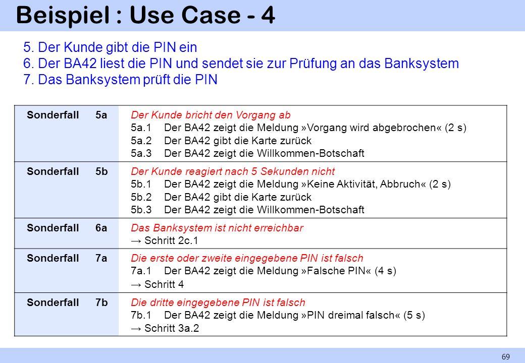 Beispiel : Use Case - 4 69 Sonderfall5aDer Kunde bricht den Vorgang ab 5a.1 Der BA42 zeigt die Meldung »Vorgang wird abgebrochen« (2 s) 5a.2 Der BA42