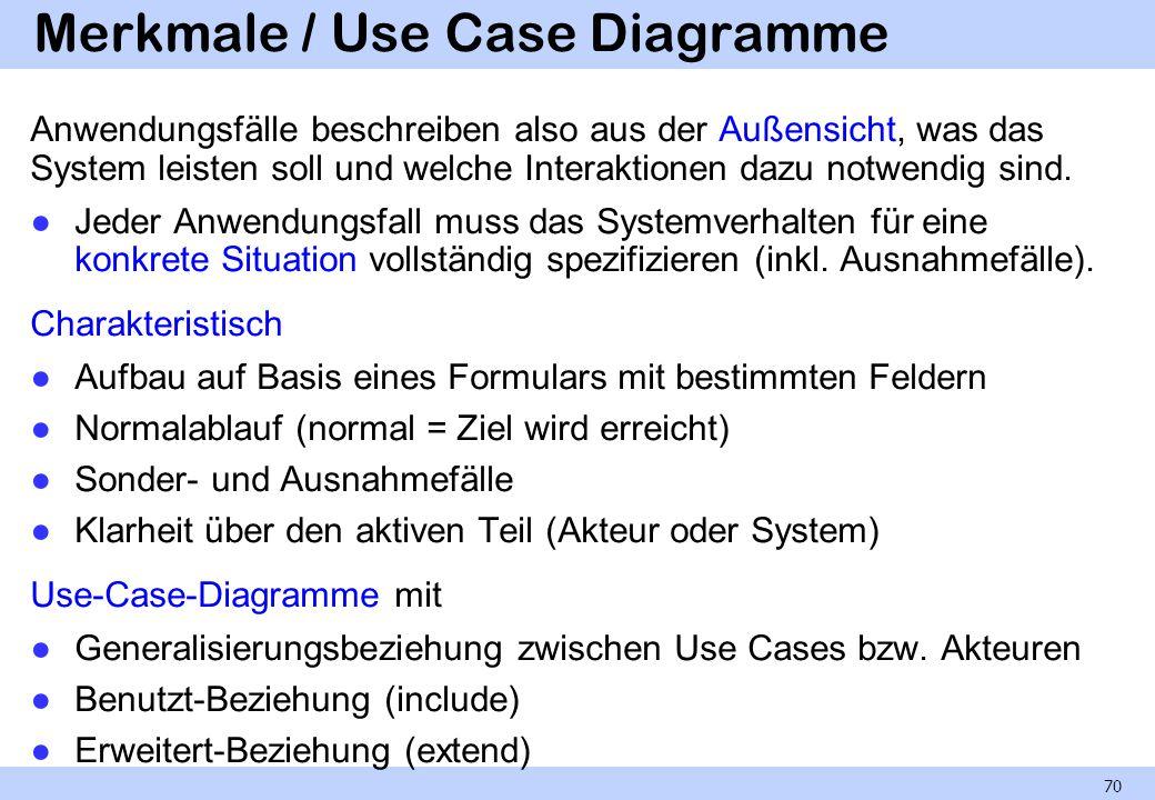 Merkmale / Use Case Diagramme Anwendungsfälle beschreiben also aus der Außensicht, was das System leisten soll und welche Interaktionen dazu notwendig