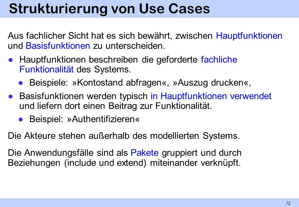 Strukturierung von Use Cases Aus fachlicher Sicht hat es sich bewährt, zwischen Hauptfunktionen und Basisfunktionen zu unterscheiden. Hauptfunktionen