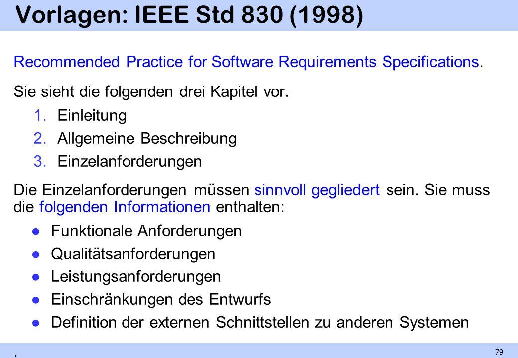 Vorlagen: IEEE Std 830 (1998) Recommended Practice for Software Requirements Specifications. Sie sieht die folgenden drei Kapitel vor. 1.Einleitung 2.