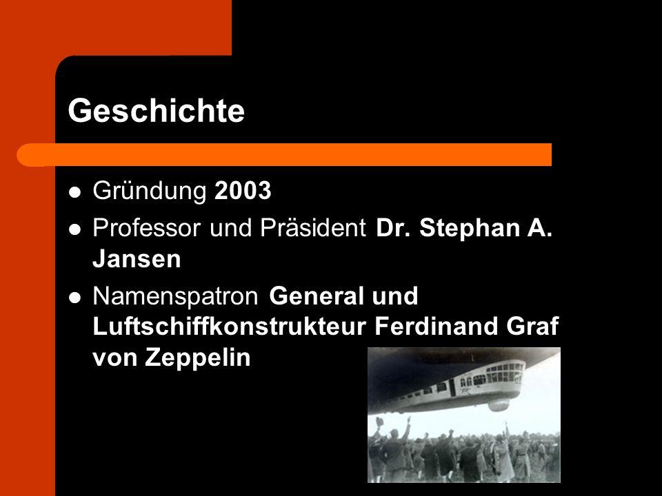 Geschichte Gründung 2003 Professor und Präsident Dr. Stephan A. Jansen Namenspatron General und Luftschiffkonstrukteur Ferdinand Graf von Zeppelin