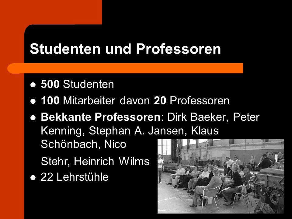 Studenten und Professoren 500 Studenten 100 Mitarbeiter davon 20 Professoren Bekkante Professoren: Dirk Baeker, Peter Kenning, Stephan A. Jansen, Klau