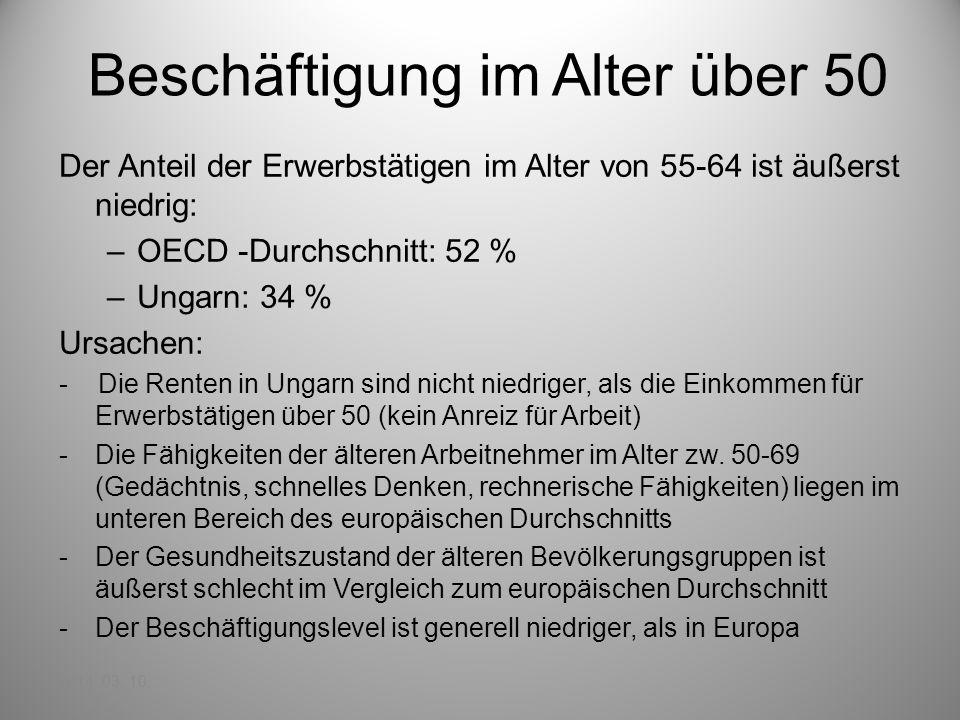 Beschäftigung im Alter über 50 Der Anteil der Erwerbstätigen im Alter von 55-64 ist äußerst niedrig: –OECD -Durchschnitt: 52 % –Ungarn: 34 % Ursachen: - Die Renten in Ungarn sind nicht niedriger, als die Einkommen für Erwerbstätigen über 50 (kein Anreiz für Arbeit) -Die Fähigkeiten der älteren Arbeitnehmer im Alter zw.