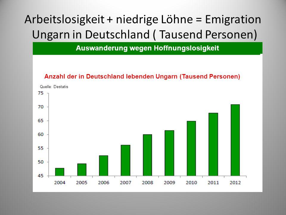 Arbeitslosigkeit + niedrige Löhne = Emigration Ungarn in Deutschland ( Tausend Personen) Auswanderung wegen Hoffnungslosigkeit Anzahl der in Deutschland lebenden Ungarn (Tausend Personen) Quelle: Destatis